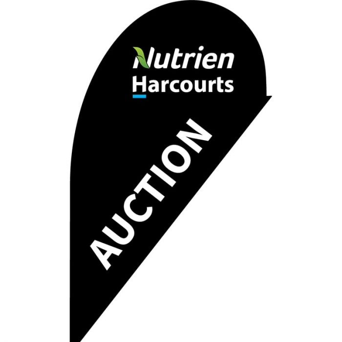 Nutrien Harcourts Auction Black (2020) Small Teardrop Flag