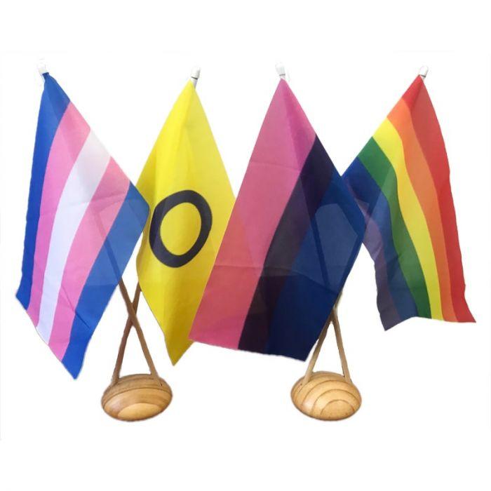LGBTI Desk Flag Set with 2 x 2 Hole Bases