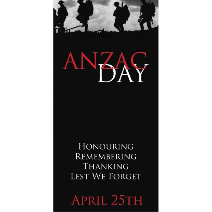 ANZAC Day Flag - Lest We Forget, Black with Red