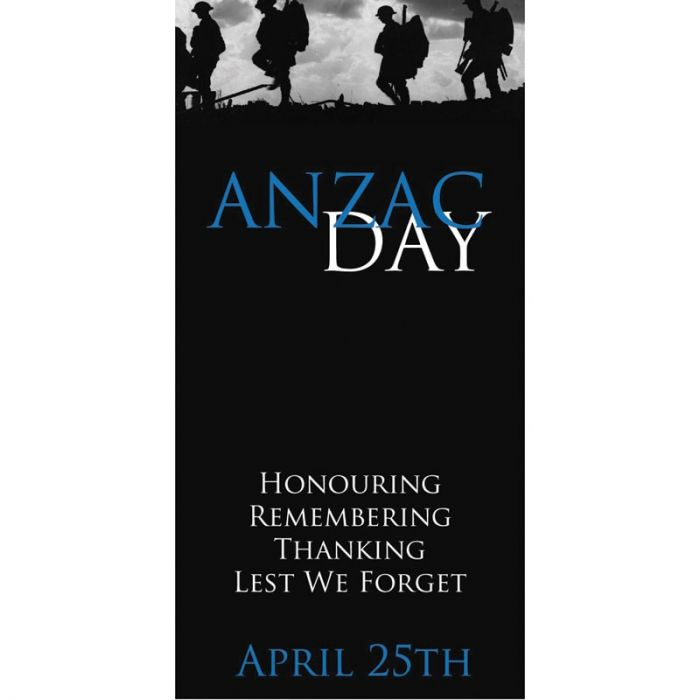 ANZAC Day Flag - Lest We Forget Black with Blue (72)