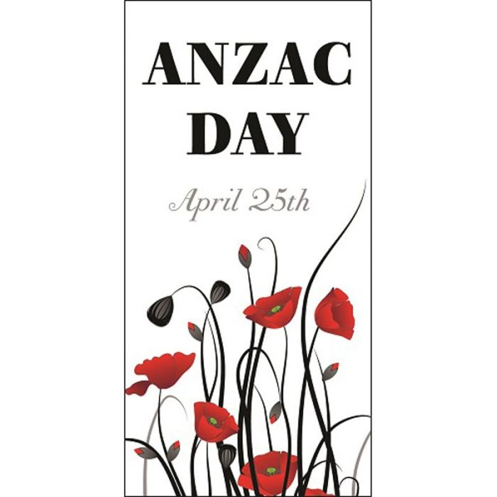 ANZAC Day Flag - Red Poppies with Date (51)