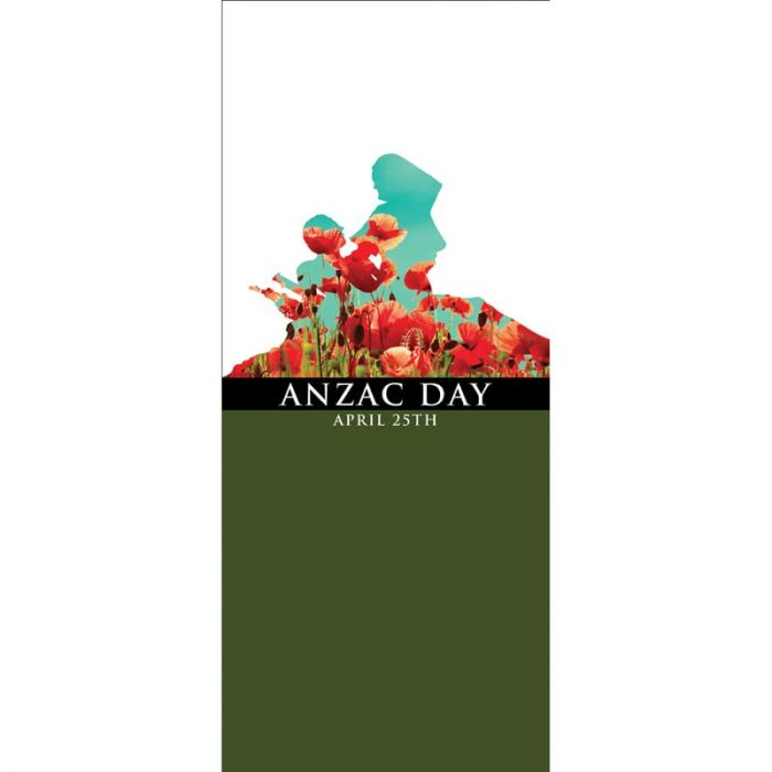 ANZAC Day Flag - White and Green with Poppies