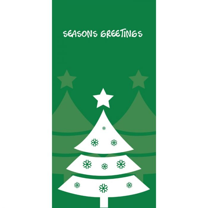Seasons Greetings Xmas Tree Flag Green 900mm x 1800mm (Various FInishes)