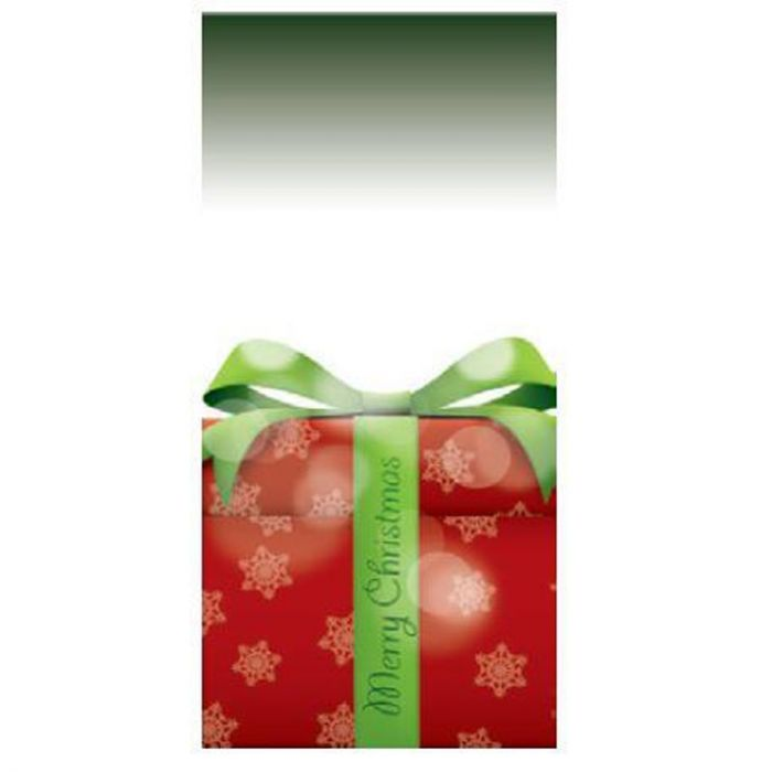 Merry Christmas Flag Dark Green with Present 900mm x 1800mm (Various Finishes)