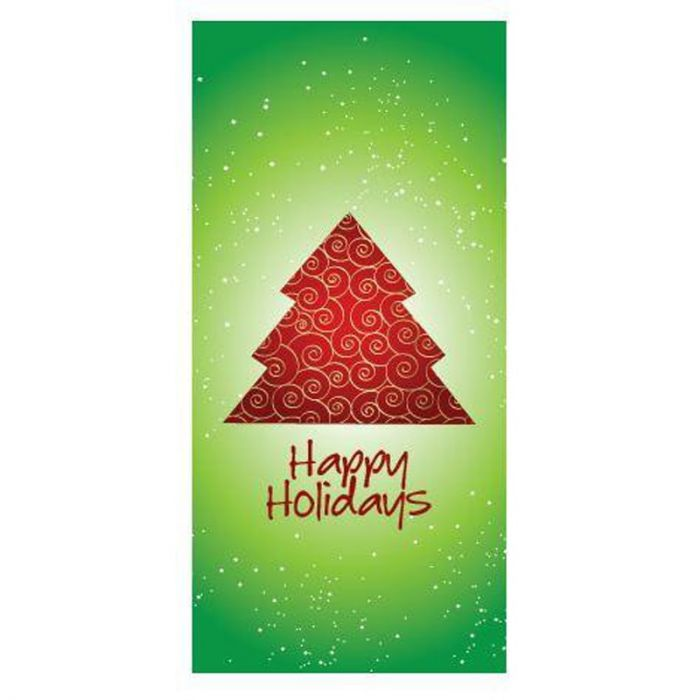 Happy Holidays Flag Green with Red Tree 900mm x 1800mm (Various FInishes)