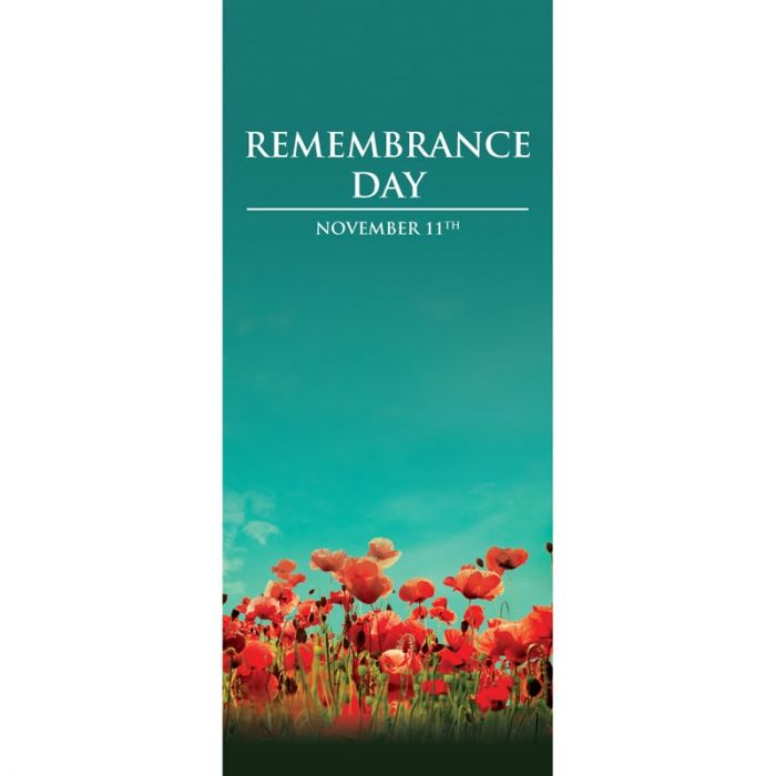 Remembrance Day Flag  - Green Flag with Red Poppies (14)