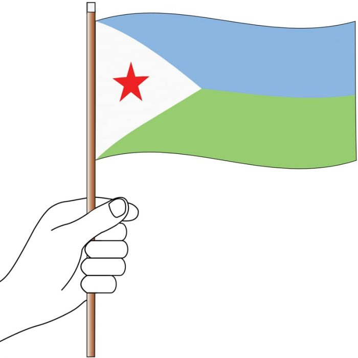Djibouti Handwaver Flag 300mm x 150mm (Knitted)