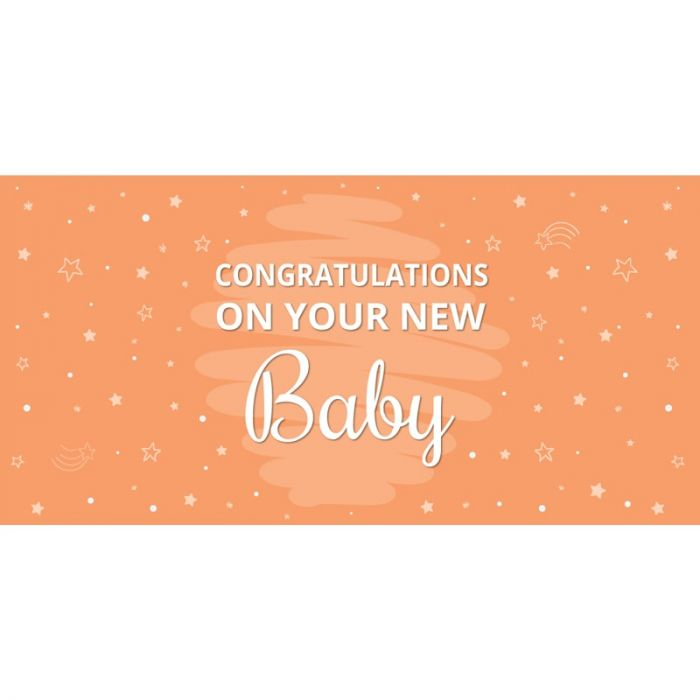 Congratulations on Your New Baby Orange  Flag 1800mm x 900mm (Knitted)