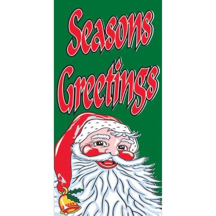 Seasons Greetings Flag Green with Santa 900mm x 1800mm (Knitted)