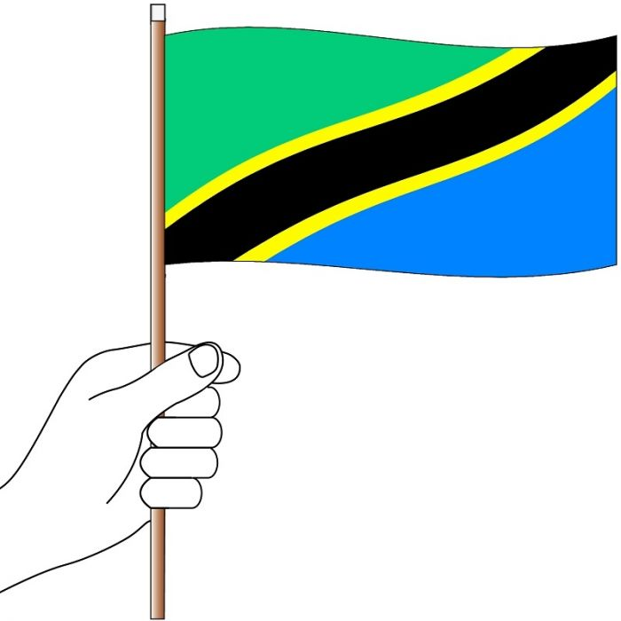 Tanzania Hand Flag Handwaver