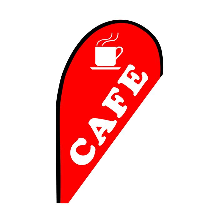 Cafe Small Teardrop Flag 980mm x 1850mm (Knitted)