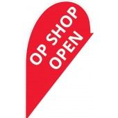 Op Shop Open Small Teardrop Flag
