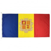 Andorra State Flag with Crest 1800mm x 900mm (Knitted)