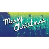 Merry Christmas Flag Blue Green Horizontal
