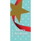 Merry Christmas Flag with Star Light Blue