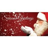 Seasons Greetings Santa Flag Red  (92)