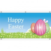 appy Easter Flag 3 Eggs- Eyelet Finish 1500mm x 750mm