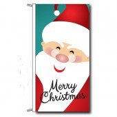 Merry Christmas Flag with Santa, Header and Loops finish. Vertical Flag