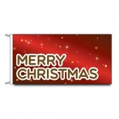 Merry Christmas Flag with Santa in Sleigh