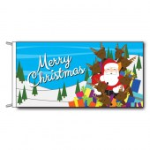 Merry Christmas Flag with Santa in Sleigh