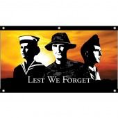 Tri Services Lest We Forget Flag - Eyelet Finish