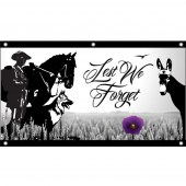 Lest We Forget Animals Horizontal Eyelet Flag
