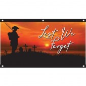 Lest We Forget Soldier Sunset Background Eyelet Flag