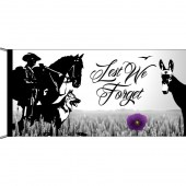 Lest We Forget Animals Purple Poppy Flag Header and Loops Flagpole Flag