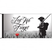 Lest We Forget Soldier and Poppy Header and Loops Flagpole Flag