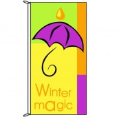 Winter Magic Purple Umbella Flag 900mm x 1800mm (Knitted)