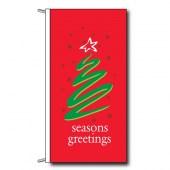 Red Seasons Greetings Flag