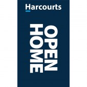 Harcourts Open Home Signboard Flag Blue