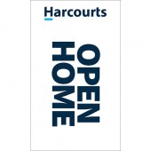 Harcourts White Signboard Flag 'Open Home'