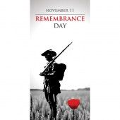 Remembrance Day Flag -  Armed Soldier and Red Poppy (12)