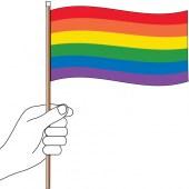Rainbow Hand Handwaver Flag