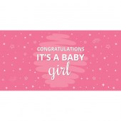 Congratulations It's a Baby Girl Pink Flag 1800mm x 900mm (Knitted)