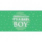 Congratulations It's a Baby Boy Green Flag 1800mm x 900mm (Knitted)