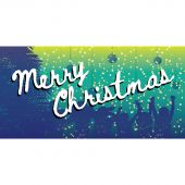 Merry Christmas Flag Blue Green Horizontal