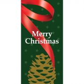 Merry Christmas Green Flag with Ribbon and Pine Cone