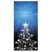 Seasons Greetings Blue Flag with White Tree 900mm x 1800mm (Various Finishes)