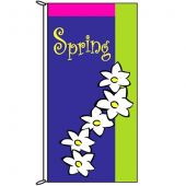 Spring Flag White Flowers 900mm x 1800mm (Knitted)