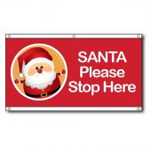 Santa Please Stop Here Eyelet Flag