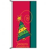Seasons Greetings Red Christmas Tree flag