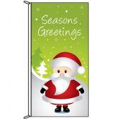 Seasons Greetings Green Flag with Santa (70)