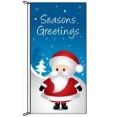 Seasons Greetings Blue Flag with Santa (71)