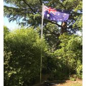 Flagpole set up in garden